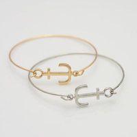 ingrosso gioielli di schiocco di ancoraggio-2019 i più nuovi oro braccialetto di modo Anchor Nero Argento Oro dei braccialetti del polsino dei braccialetti per le donne-amore coreano gioielli Snap h Famous
