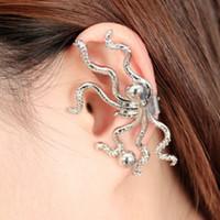 goldkrake großhandel-1 PC-Gold-Silber-Farben-Krake-geformte Ohr-Stulpe-Haken Nicht-durchbohrte Ohr-Klipp-Ohrring-Frauen Fashion Jewelry