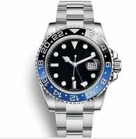 esportes de cerâmica venda por atacado-Novo preto azul GMT Cerâmica Bezel Mens Mecânico Automático de Aço Inoxidável 2813 Relógio de Movimento Esportes Auto-vento Relógios de Pulso