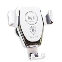 iphone için emiş aparatı toptan satış-Toptan Yerçekimi Araç Montaj Hızlı Kablosuz Şarj iphone Samsung Kablosuz Şarj Pad Telefon Tutucu Standı Araba Hava Firar Emme dağı DHL