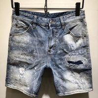 jeans de marca ao ar livre venda por atacado-Denim Jeans Shorts Verão Homens Buraco patchwork Outdoor Sports rasgado Calças Designer Jeans curto Marca LJO6545
