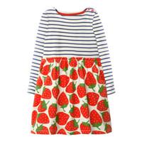 roupas de bebê de morango venda por atacado-Miúdo Vestido de Algodão Meninas Bonito Morango Imprimir Vestido de Bebê roupas Casuais Criança manga Longa stripe clothing traje da menina da criança