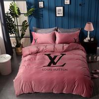 amerikanische bettwäsche großhandel-Brand Design Letter Print Bettwäsche Set American Style Print Bettbezug Set lebensechte Bettwäsche mit Kissenbezug