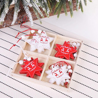Wholesale black white tree painting for sale - Group buy Hot Selling Christmas Tree Decorations Closet Creative Painted Red and White Christmas Pendants Home Decoration