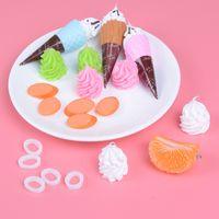 смоляное мороженое оптовых-DIY Accessories Resin Artificial Fake Miniature Fruit Orange Ice Cream Ham Play DollHouse Toy Decorative Craft Kawaii Kids