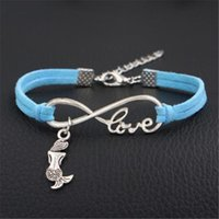 Wholesale new beautiful boys resale online - New Braided Blue Leather Suede Bracelet Bangles Women Men Silver Color Infinity Love Beautiful Mermaid Armband Charm Girl Boy Gift Jewellery