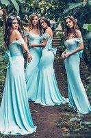 juniors bohem elbiseleri toptan satış-Nane Mavi Bohemian Uzun Gelinlik Modelleri Yay ile 2019 Kapalı Omuz Dantel Leke Mermaid Ülke Genç Onur Hizmetçi Düğün Konuk Dess