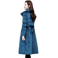 ropa de terciopelo coreano de las mujeres al por mayor-2019 nuevas mujeres Parkers ropa de algodón larga moda coreana delgada chaqueta gruesa chaqueta de terciopelo dorado invierno color sólido arco prendas de vestir exteriores