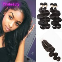 Wholesale hair weave closures pieces resale online - Malaysian Human Hair Pieces One Body Wave X6 Lace Closure Middle Part Bundles With Closure Body Wave Weaves