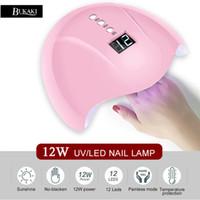 ingrosso gel di luce rosa-BUKAKI Rosa Led Lampada per unghie 12W USB Uv Light Nail Dryer Gel Polish 12 perline Schermo LED essiccazione di tutti i gel Vernice Strumenti d'arte