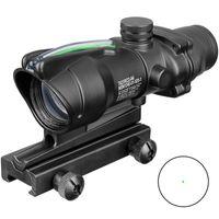 ponto vermelho de fibra óptica venda por atacado-Fibra verde Trijicon Caça Âmbito ACOG 1x32 Tactical Red Dot Sight real Optic Riflescope com Picatinny Rail
