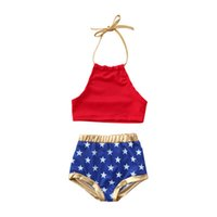 traje de baño banderas al por mayor-Baby Girl Sling Swimsuit Bandera estadounidense Día de la Independencia Día nacional de los Estados Unidos 4 de julio Sólido Sling Star Print Triángulo traje de baño de niña