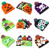 Wholesale baby favor decors resale online - New Led Halloween Knitted Hats Kids Baby Moms Warm Beanies Crochet Winter Caps For Pumpkin Acrylic skull cap party decor gift props