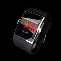 erkek siyah kol saati toptan satış-Sıcak Stil Moda Dijital LED Bilek İzle Kol Hediyeler Sevgilisi Hediye Için Çocuk Erkek Erkekler Siyah Izle LL