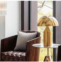 iluminação níquel escovado venda por atacado-LEVOU Postmoderno quarto luz minimalista mesa de estudo luz LED Nordic personalidade criativa cogumelo candeeiro de mesa EMS