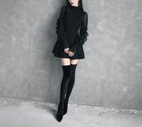 ligne de taille empire col haut achat en gros de-2019 femmes d'été manches papillon mini robe gothique punk à volants cou une ligne robe automne sexy taille haute solide noir