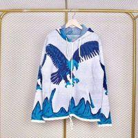 молнии для женщин оптовых-Орел с капюшоном на молнии свитер синий и белый Eagle с капюшоном на молнии вязаные свободные куртки мужчины и женщины пары высокого качества куртка HFBYJK058