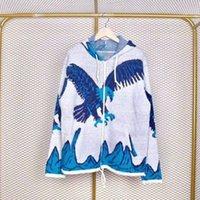 chaquetas de punto para hombres al por mayor-Eagle Sudadera con capucha y cremallera Azul y blanco Eagle Zip Hoodie Chaqueta suelta de punto Hombre y mujer Parejas CHAQUETA de alta calidad HFBYJK058