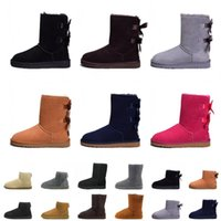 satin bowknot schuhe großhandel-billig Verkauf WGG Schnee Stiefel Winter Stiefel Australien Designer hohe Stiefel aus echtem Leder Bailey Bowknot Frauen Bailey Bow Knie Boot Schuhe