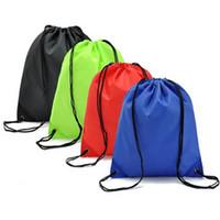 mochilas con cordón al por mayor-Bolsa portátil de cuerda color sólido grueso impermeable del hombro del bolso de lazo doble bolsa de almacenamiento Deportes Mochila Soporte FBA envío de la gota M33F