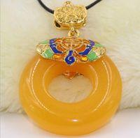 Wholesale hetian pendant for sale - Group buy Old Beeswax Peaceful Pendant Pendant Hetian Jade Amber Necklace Sweater Chain Women s Wax Pendant