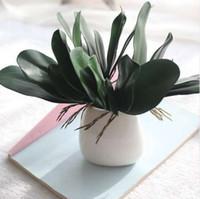 hoja de orquídea al por mayor-1 Unids Phalaenopsis hoja artificial planta hoja flores decorativas material auxiliar decoración de la flor hojas de Orquídea