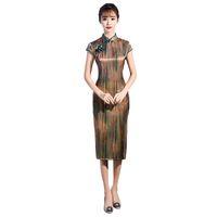 китайские дамы cheongsam оптовых-Oriental Ladies Knee Length Chinese Style Short Sleeve Dress Vintage Qipao Classic Stage Show Elegant Female Cheongsam M-3XL