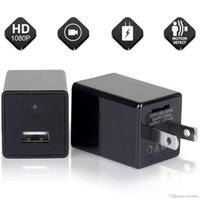 bewegungserkennung usb-ladegerät kamera großhandel-Schwarz Tragbare WiFi HD 1080P Kamera USB AC Adapter Wand USB Ladegerät Bewegungserkennungskamera