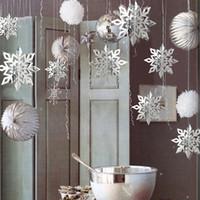 decoração de natal neve artificial venda por atacado-6pcs / set 3d Papel Artificial Snowflakes barbante pendurado Decoração de Natal Pingente partido da árvore de Natal do ornamento Neve Falsa Para Casa Shop 7