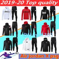 jacke luft großhandel-2019 2020 Jordam X Paris Fußballjacke Anzug survêtement 18 19 20 ICARDI Mbappe Sportsluft Jordam Fußballjacke mit Kapuze Anzug