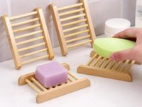 100PCS Natural Bamboo Trays Wholesale Wooden Soap Dish Wooden Soap Tray Holder Rack Plate Box Container for Bath Shower Bathroom