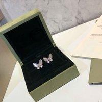 klasik gümüş küpeler toptan satış-Nişan Takı Küpe Kadın s925 Gümüş Iki kelebek Küpe Tasarımcısı Vintage Alhambra Takı Küpe 3 renkler