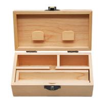 pipas de madera accesorios al por mayor-Caja de madera con bandeja rodante Tabaco de madera natural hecho a mano y caja de almacenamiento de hierbas para accesorios de pipa de fumar