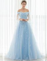 açık mavi elbise gerçek fotoğraf toptan satış-Vintage Lüks Gelinlik 2019 Kapalı Omuz Dantel Aplikler Boncuklu Stokta Ucuz Gerçek Fotoğraf Açık Mavi Watteau Gelin Törenlerinde Vestidos