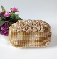 Wholesale satin crystal purse for sale - Group buy Luxury Gold Silver Crystals Ladies Bags Handbag Evening Formal Occasion Women Clutches Sparkly Sequins Flower Bridal Handbags Purses AL2128