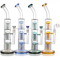Wholesale triple tree water bong resale online - Thick Tall big glass bong Cheass Triple Tree Perc Glass Bongs Inches dab rig Water Pipes oil rigs Percolator Smoking
