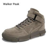 zapatillas de goma zapatos para caminar al por mayor-Zapatillas de deporte de alta superior de cuero de la PU de los hombres zapatos casuales Calzado negro zapatos de los planos masculinos Caucho negro Hombres caminando Ventas Walker peak
