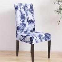 ingrosso coperture di sedia blu-Fodera per sedia da pranzo modello elastico Graffiti Sedia da viaggio sottile Custodia protettiva Fodera interna rimovibile antiscivolo Blu scuro