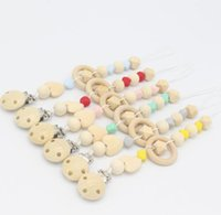 Wholesale crochet baby ring resale online - Natural Baby Pacifier Clip Soother Clips Dummy Holder Safe Wooden Crochet Beads Shade Of Grey Natural Wooden Ring Car Teether