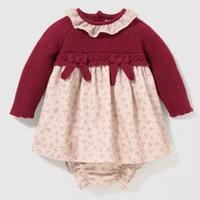 niñas niños algodón vestido al por mayor-2 unids bebé niña boutique de manga larga vestido de suéter panty conjunto niños de punto de algodón otoño invierno infantil vestido floral vestidos Bautizo