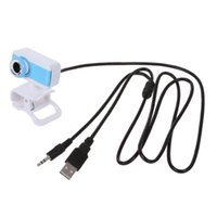 usb blue mic al por mayor-USB Clip 50.0 Mega Pixel Webcam Cámara web Cámara con MIC Azul Blanco para PC Portátil
