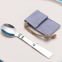 Wholesale small folding knife stainless for sale - Group buy Outdoor Folding Travel Camping Utensil Stainless Pocket Spoon Fork Small Foldable Spoon Fork Camping Picnic ZC1364