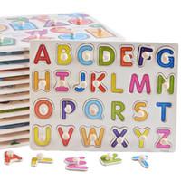 set puzzle holzspielzeug großhandel-Baby Montessori Holz Puzzle / Hand Grab Board Set Lernspielzeug Cartoon Nummer Brief Math Puzzle Kind Geschenk