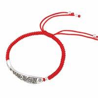 brazaletes de cuerda al por mayor-925 Cuerda plata esterlina Fish Lucky Red brazalete pulsera hecha a mano de cera cuerda joyería amuleto 1552 V191115
