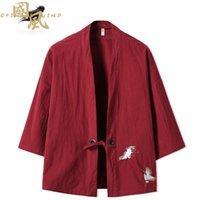 plus größe japanischen stil großhandel-Kran Stickerei Haori Kimono Harajuku Japanischen Stil Plus Size Männer Samurai Kostüm Yukata Asiatische Kleidung Strickjacke Frauen Jacke