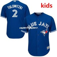 camisetas de béisbol juvenil al por mayor-Jersey de béisbol Base Cool Royal para jóvenes Tulowitzki Toronto Youth / Kid