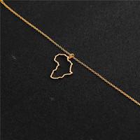 gold afrika anhänger halskette großhandel-hohlen Afrika Karte Halskette Ägypten Südafrika Kenia Nigeria Karte Afrika Anhänger Halskette Schmuck Heimatstadt Glück Schlüsselbein Halskette