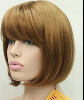 pelucas de piel nuevas al por mayor-WIG NEW STYLE Envío gratis WIG NEW STYLE Envío gratis Strawberry Blonde skin dot short recto flequillo peluca sintética BoBo para mujer