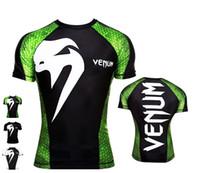 shorts de treino para homens venda por atacado-Mens MMA 3D Impresso camisetas Venum Gym magro de manga curta Boxe Training Homens Tops estiramento elevado Quick Dry Tees