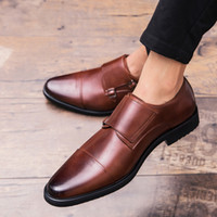 Wholesale wine red formal dresses resale online - Men Genuine Leather Shoes Luxury Style Formal Dress Wedding Shoes Red Wine British Style Business Office